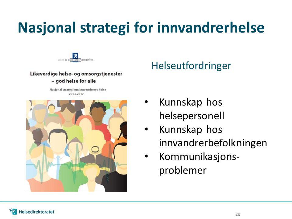 Nasjonal strategi for innvandrerhelse Helseutfordringer Kunnskap hos helsepersonell Kunnskap hos innvandrerbefolkningen Kommunikasjons- problemer 28