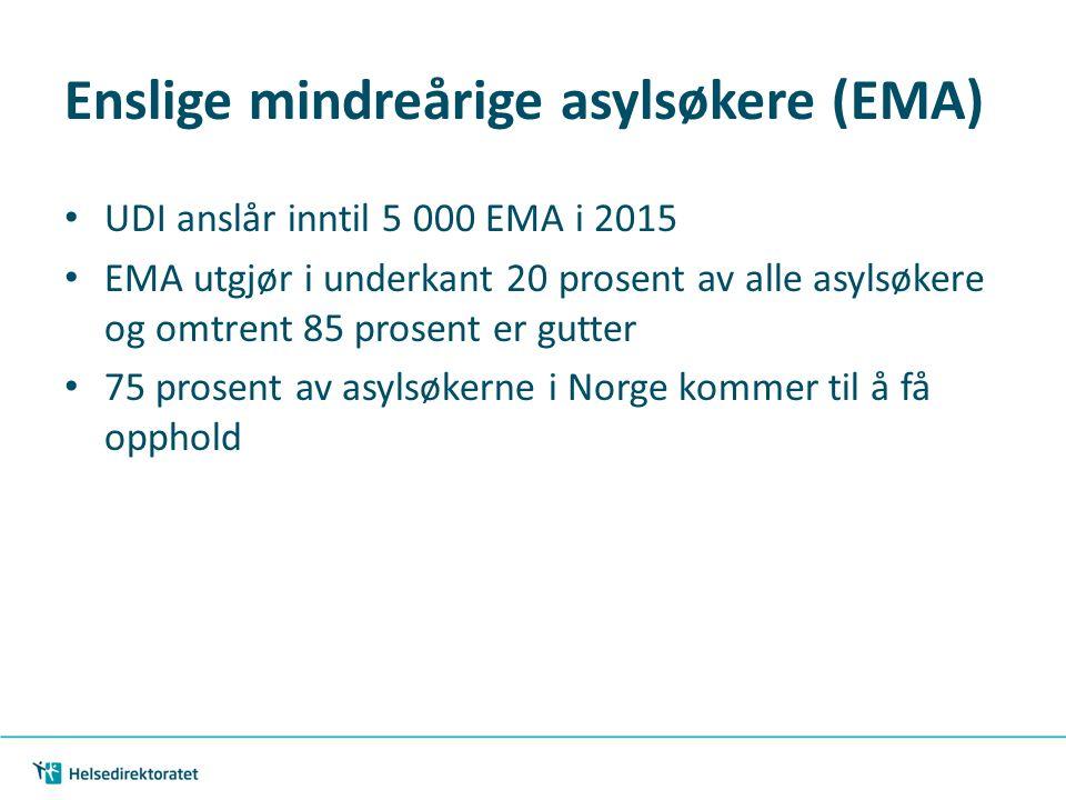 Enslige mindreårige asylsøkere (EMA) UDI anslår inntil 5 000 EMA i 2015 EMA utgjør i underkant 20 prosent av alle asylsøkere og omtrent 85 prosent er gutter 75 prosent av asylsøkerne i Norge kommer til å få opphold