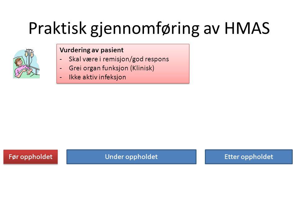 Praktisk gjennomføring av HMAS Før oppholdet Under oppholdetEtter oppholdet Vurdering av pasient -Skal være i remisjon/god respons -Grei organ funksjon (Klinisk) -Ikke aktiv infeksjon Vurdering av pasient -Skal være i remisjon/god respons -Grei organ funksjon (Klinisk) -Ikke aktiv infeksjon
