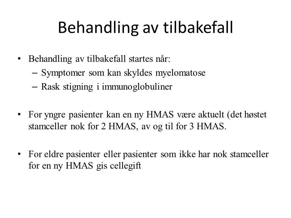 Behandling av tilbakefall Behandling av tilbakefall startes når: – Symptomer som kan skyldes myelomatose – Rask stigning i immunoglobuliner For yngre pasienter kan en ny HMAS være aktuelt (det høstet stamceller nok for 2 HMAS, av og til for 3 HMAS.