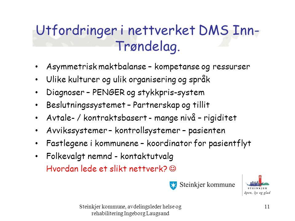 Utfordringer i nettverket DMS Inn- Trøndelag. Asymmetrisk maktbalanse – kompetanse og ressurser Ulike kulturer og ulik organisering og språk Diagnoser