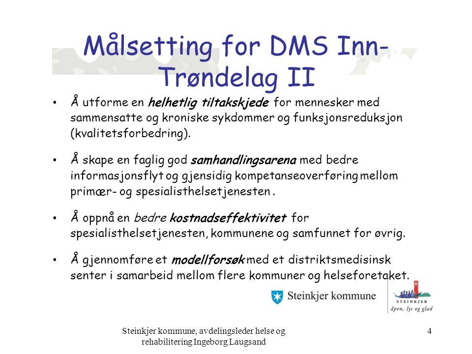 Målsetting for DMS Inn- Trøndelag II Å utforme en helhetlig tiltakskjede for mennesker med sammensatte og kroniske sykdommer og funksjonsreduksjon (kvalitetsforbedring).