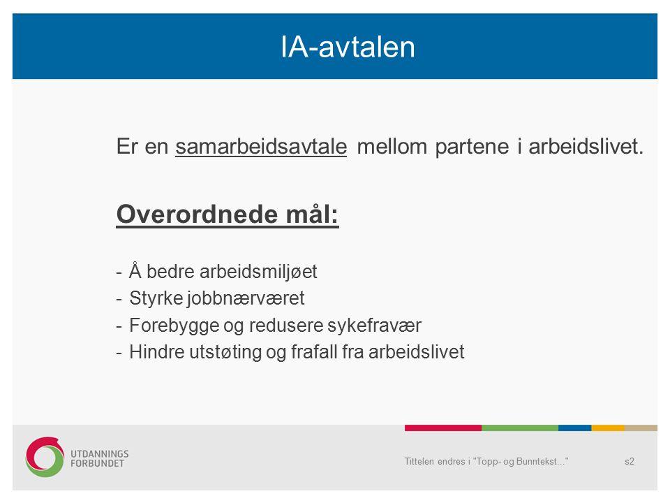 Tittelen endres i Topp- og Bunntekst... s2 IA-avtalen Er en samarbeidsavtale mellom partene i arbeidslivet.