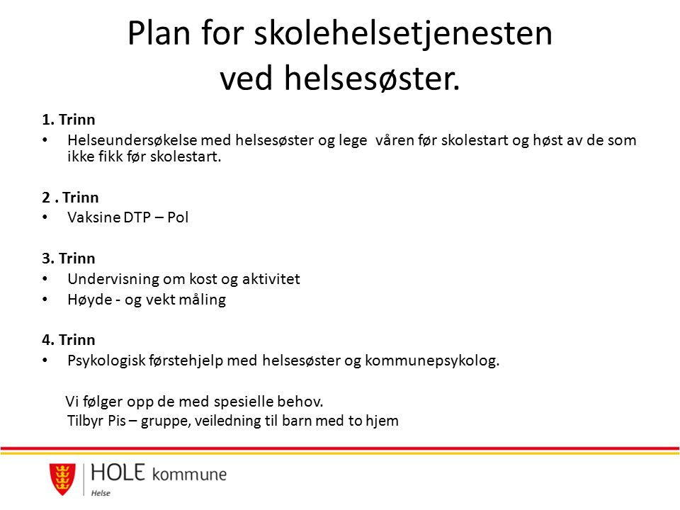 Plan for skolehelsetjenesten ved helsesøster. 1.