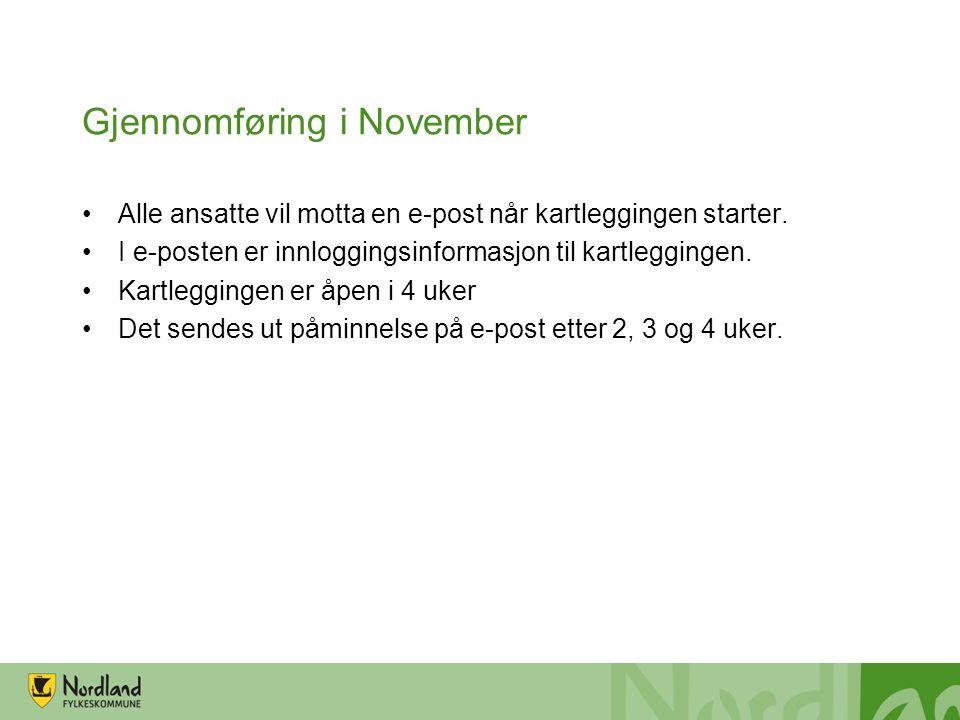 Gjennomføring i November Alle ansatte vil motta en e-post når kartleggingen starter.