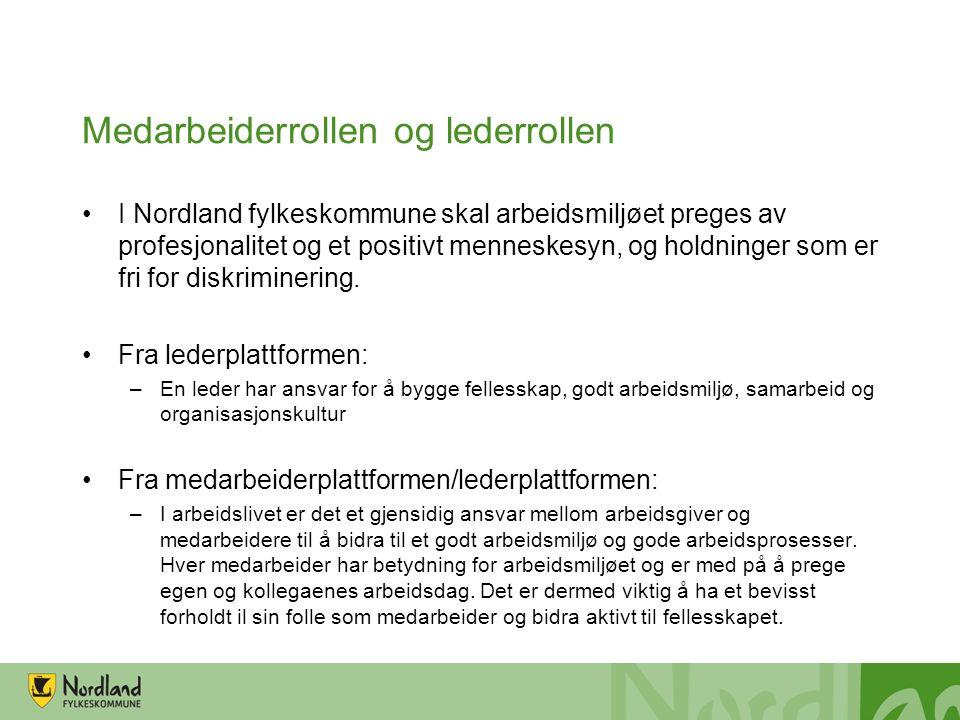 Medarbeiderrollen og lederrollen I Nordland fylkeskommune skal arbeidsmiljøet preges av profesjonalitet og et positivt menneskesyn, og holdninger som er fri for diskriminering.