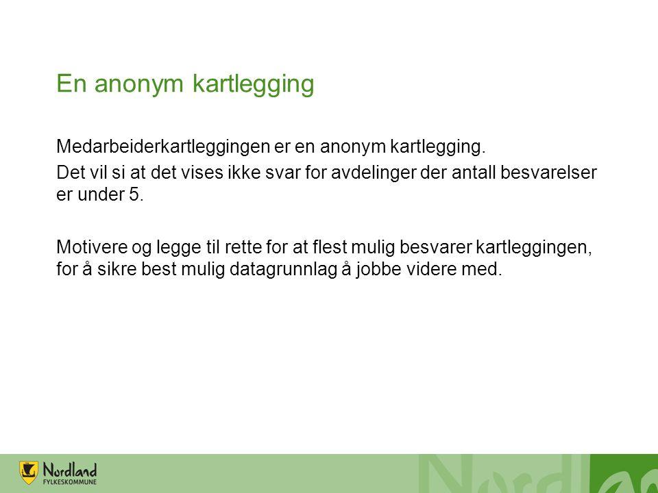 En anonym kartlegging Medarbeiderkartleggingen er en anonym kartlegging.