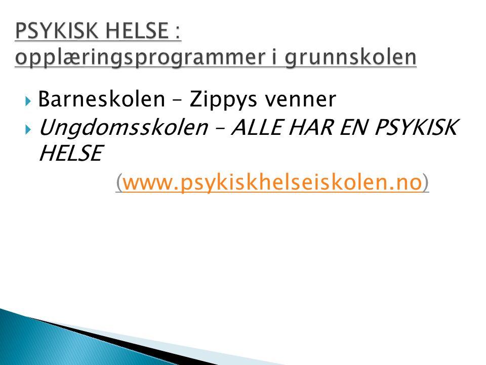  Barneskolen – Zippys venner  Ungdomsskolen – ALLE HAR EN PSYKISK HELSE (www.psykiskhelseiskolen.no)www.psykiskhelseiskolen.no