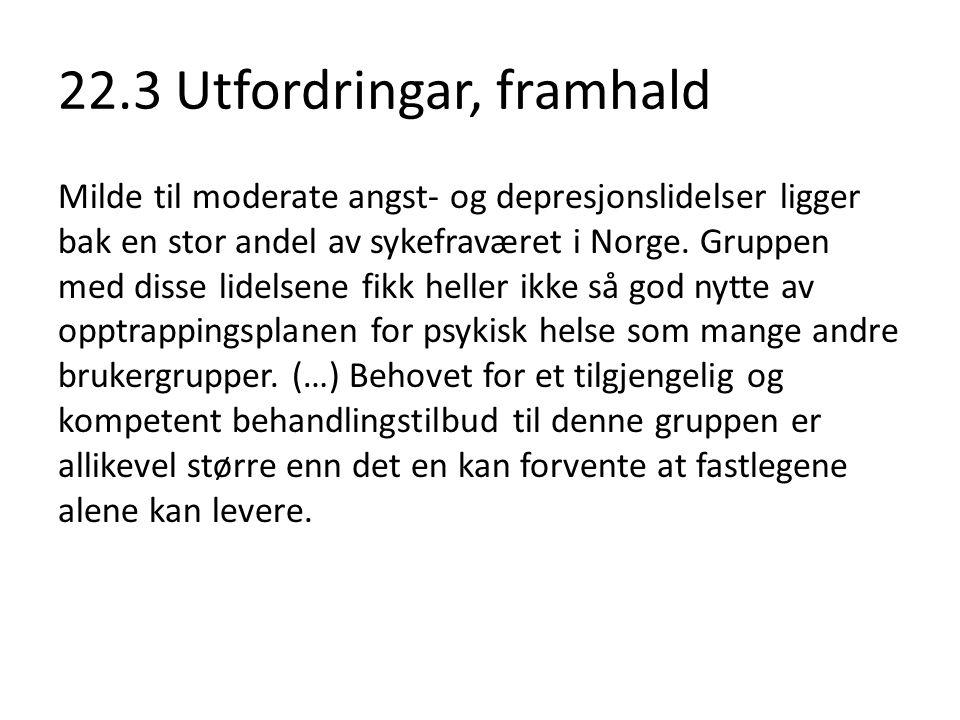 22.3 Utfordringar, framhald Milde til moderate angst- og depresjonslidelser ligger bak en stor andel av sykefraværet i Norge. Gruppen med disse lidels