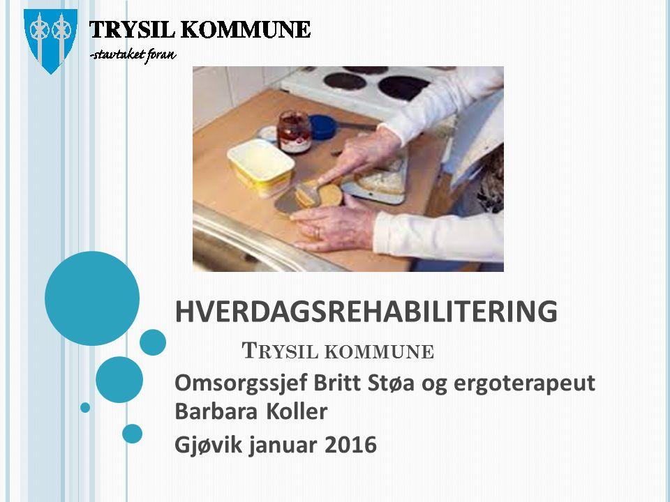 HVERDAGSREHABILITERING T RYSIL KOMMUNE Omsorgssjef Britt Støa og ergoterapeut Barbara Koller Gjøvik januar 2016