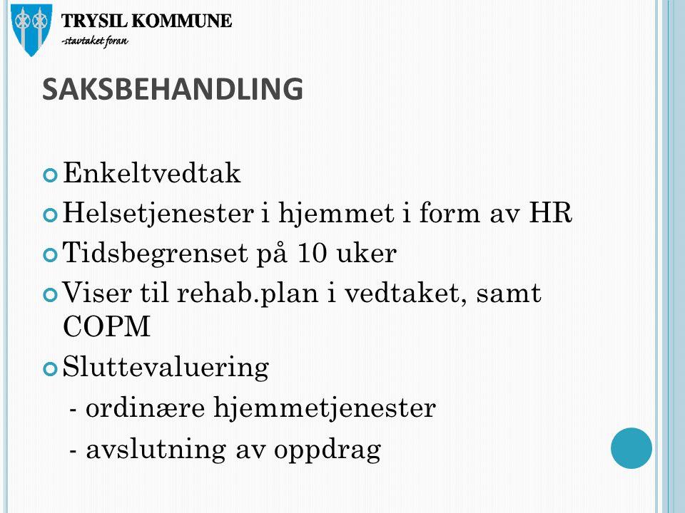 SAKSBEHANDLING Enkeltvedtak Helsetjenester i hjemmet i form av HR Tidsbegrenset på 10 uker Viser til rehab.plan i vedtaket, samt COPM Sluttevaluering - ordinære hjemmetjenester - avslutning av oppdrag