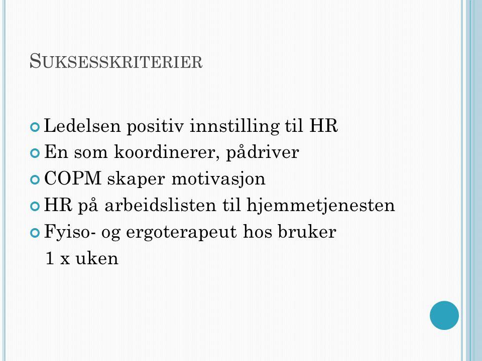 S UKSESSKRITERIER Ledelsen positiv innstilling til HR En som koordinerer, pådriver COPM skaper motivasjon HR på arbeidslisten til hjemmetjenesten Fyiso- og ergoterapeut hos bruker 1 x uken