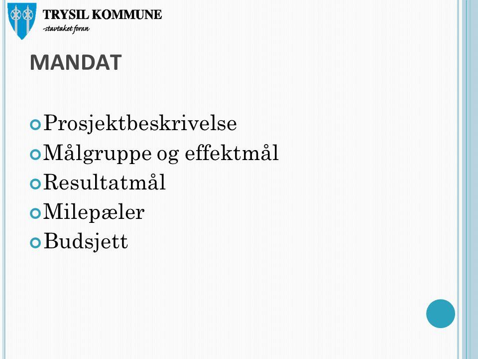 MANDAT Prosjektbeskrivelse Målgruppe og effektmål Resultatmål Milepæler Budsjett