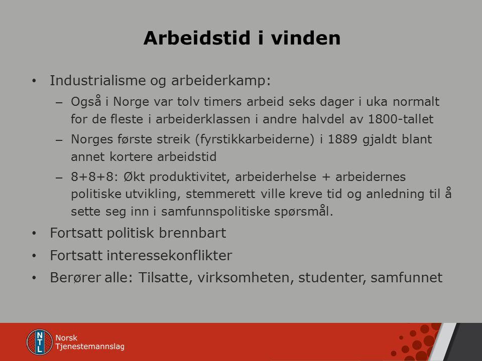Arbeidstid i vinden Industrialisme og arbeiderkamp: – Også i Norge var tolv timers arbeid seks dager i uka normalt for de fleste i arbeiderklassen i andre halvdel av 1800-tallet – Norges første streik (fyrstikkarbeiderne) i 1889 gjaldt blant annet kortere arbeidstid – 8+8+8: Økt produktivitet, arbeiderhelse + arbeidernes politiske utvikling, stemmerett ville kreve tid og anledning til å sette seg inn i samfunnspolitiske spørsmål.