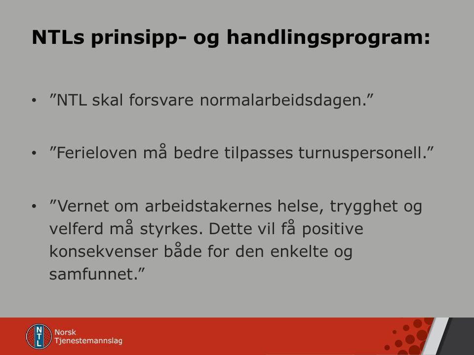 NTLs prinsipp- og handlingsprogram: NTL skal forsvare normalarbeidsdagen. Ferieloven må bedre tilpasses turnuspersonell. Vernet om arbeidstakernes helse, trygghet og velferd må styrkes.