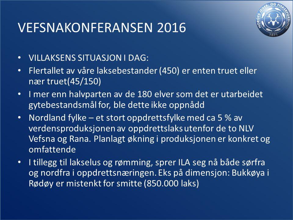 VEFSNAKONFERANSEN 2016 VILLAKSENS SITUASJON I DAG: Flertallet av våre laksebestander (450) er enten truet eller nær truet(45/150) I mer enn halvparten av de 180 elver som det er utarbeidet gytebestandsmål for, ble dette ikke oppnådd Nordland fylke – et stort oppdrettsfylke med ca 5 % av verdensproduksjonen av oppdrettslaks utenfor de to NLV Vefsna og Rana.