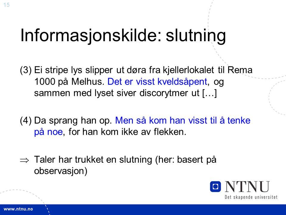 15 Informasjonskilde: slutning (3)Ei stripe lys slipper ut døra fra kjellerlokalet til Rema 1000 på Melhus.