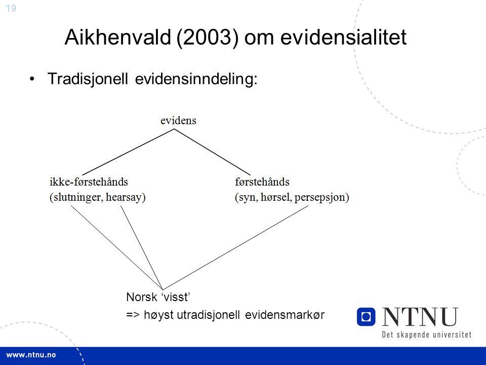 19 Aikhenvald (2003) om evidensialitet Tradisjonell evidensinndeling: Norsk 'visst' => høyst utradisjonell evidensmarkør