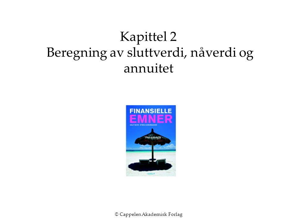 © Cappelen Akademisk Forlag Kapittel 2 Beregning av sluttverdi, nåverdi og annuitet