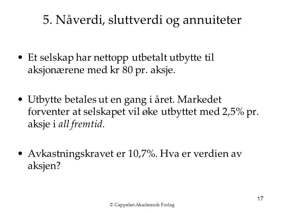© Cappelen Akademisk Forlag 17 Et selskap har nettopp utbetalt utbytte til aksjonærene med kr 80 pr.