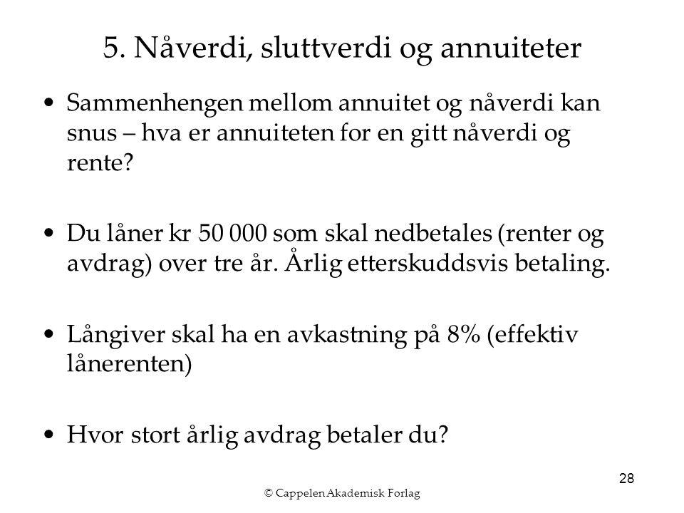 © Cappelen Akademisk Forlag 28 Sammenhengen mellom annuitet og nåverdi kan snus – hva er annuiteten for en gitt nåverdi og rente.