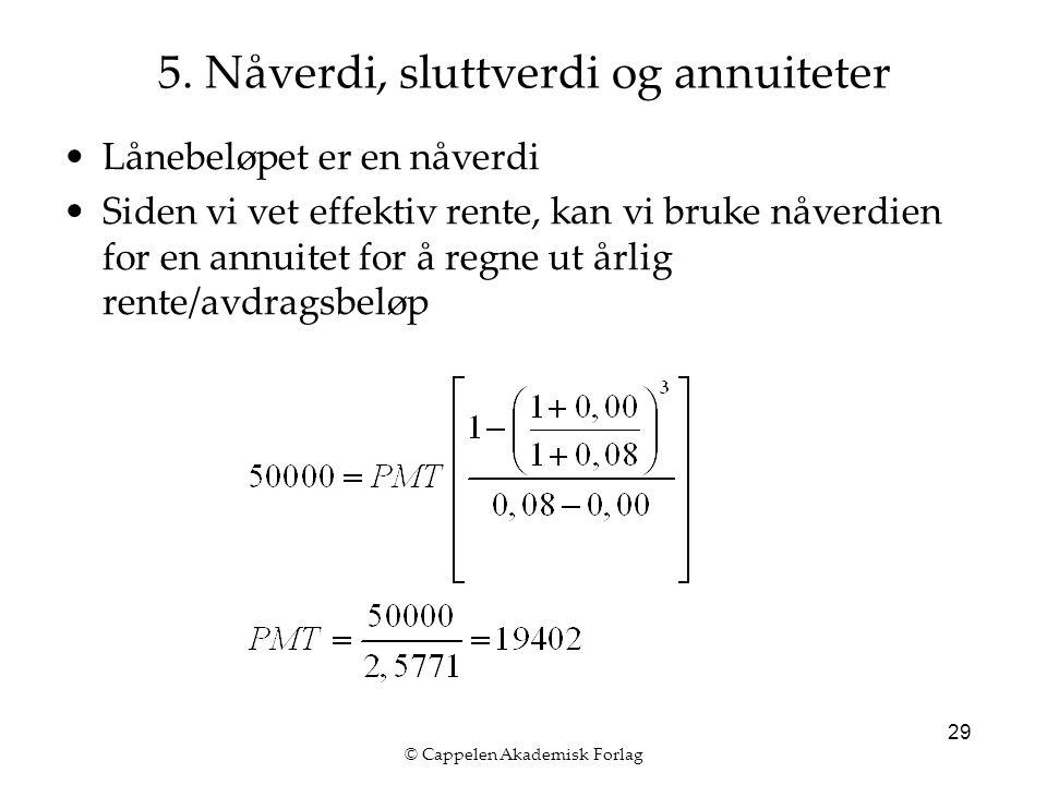 © Cappelen Akademisk Forlag 29 Lånebeløpet er en nåverdi Siden vi vet effektiv rente, kan vi bruke nåverdien for en annuitet for å regne ut årlig rente/avdragsbeløp 5.