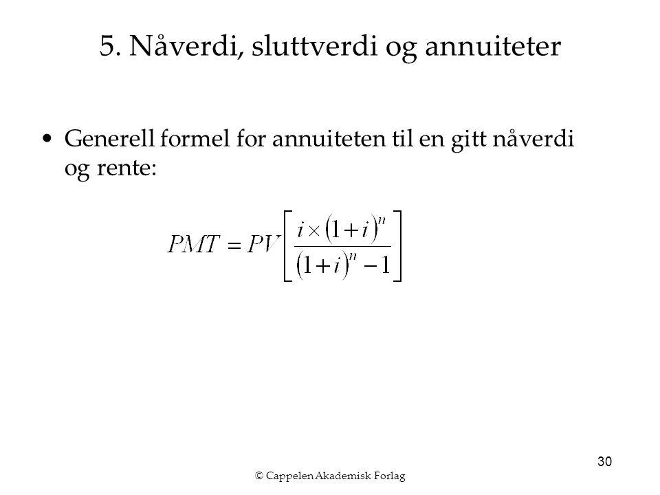 © Cappelen Akademisk Forlag 30 Generell formel for annuiteten til en gitt nåverdi og rente: 5.
