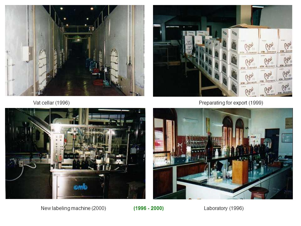 Laboratory (1996) Vat cellar (1996) New labeling machine (2000) Preparating for export (1999) (1996 - 2000)