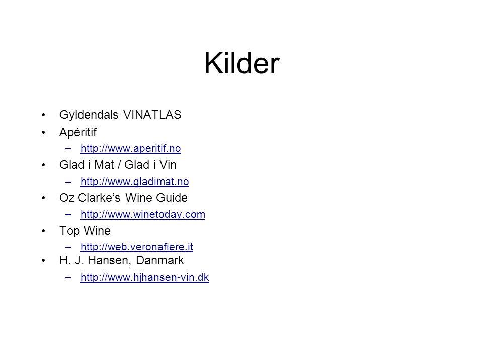 Kilder Gyldendals VINATLAS Apéritif –http://www.aperitif.no Glad i Mat / Glad i Vin –http://www.gladimat.no Oz Clarke's Wine Guide –http://www.winetoday.com Top Wine –http://web.veronafiere.it H.