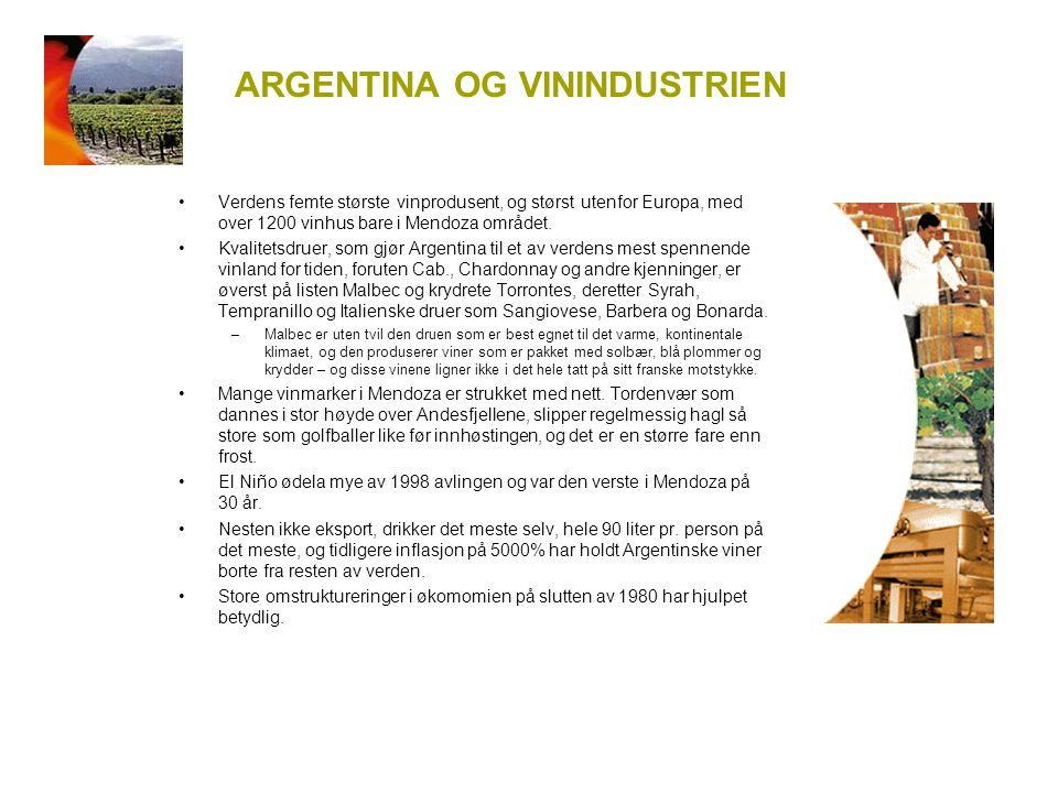 ARGENTINA OG VININDUSTRIEN Verdens femte største vinprodusent, og størst utenfor Europa, med over 1200 vinhus bare i Mendoza området.