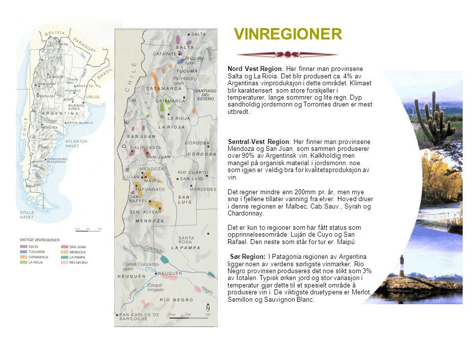 VINREGIONER Nord Vest Region: Her finner man provinsene Salta og La Rioia. Det blir produsert ca. 4% av Argentinas vinproduksjon i dette området. Klim