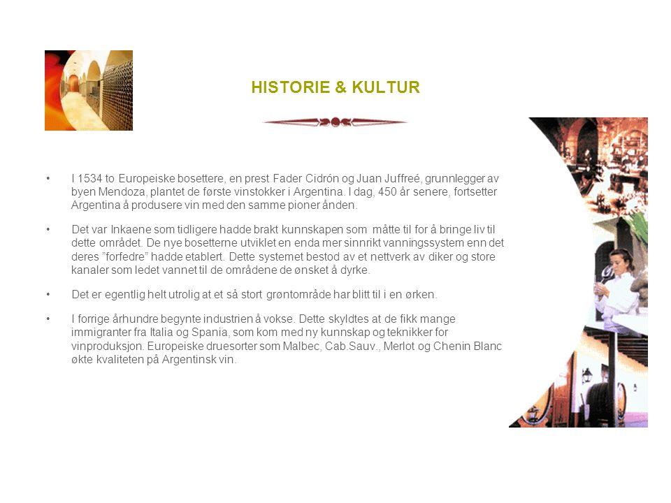 HISTORIE & KULTUR I 1534 to Europeiske bosettere, en prest Fader Cidrón og Juan Juffreé, grunnlegger av byen Mendoza, plantet de første vinstokker i Argentina.
