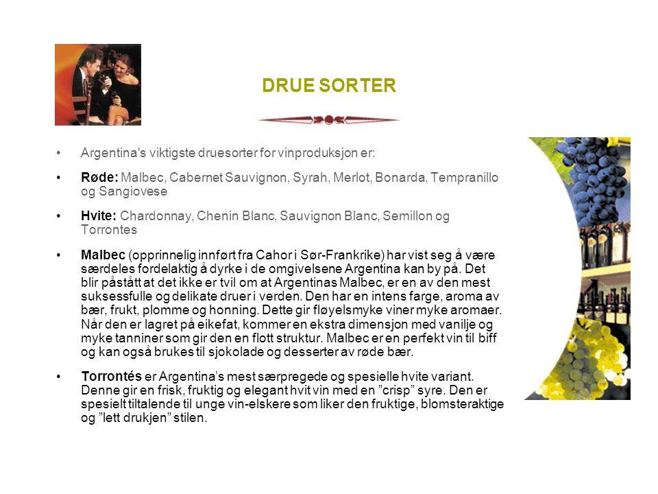 DRUE SORTER Argentina s viktigste druesorter for vinproduksjon er: Røde: Malbec, Cabernet Sauvignon, Syrah, Merlot, Bonarda, Tempranillo og Sangiovese Hvite: Chardonnay, Chenin Blanc, Sauvignon Blanc, Semillon og Torrontes Malbec (opprinnelig innført fra Cahor i Sør-Frankrike) har vist seg å være særdeles fordelaktig å dyrke i de omgivelsene Argentina kan by på.