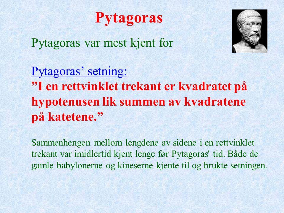 Pytagoras Pytagoreerne fant ut at når vi spiller på en streng, vil tonene lyde harmonisk dersom vi endrer strengens lengde med brøkdeler som for eksempel: 1/2, 2/3, 3/4, 4/5, 8/9.