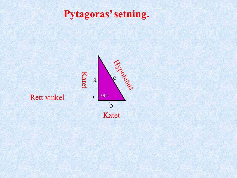 Pytagoras Pytagoras' setning: I en rettvinklet trekant er kvadratet på hypotenusen lik summen av kvadratene på katetene. Sammenhengen mellom lengdene av sidene i en rettvinklet trekant var imidlertid kjent lenge før Pytagoras tid.
