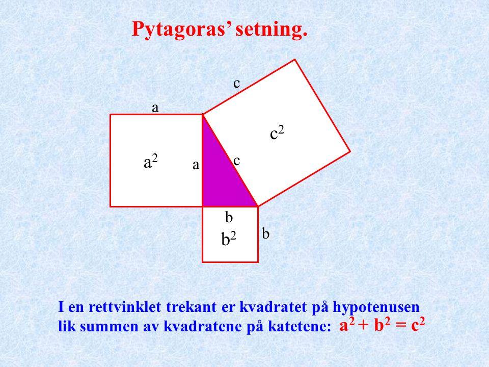 Pytagoras' setning. a b c Katet Hypotenus Rett vinkel 90 o