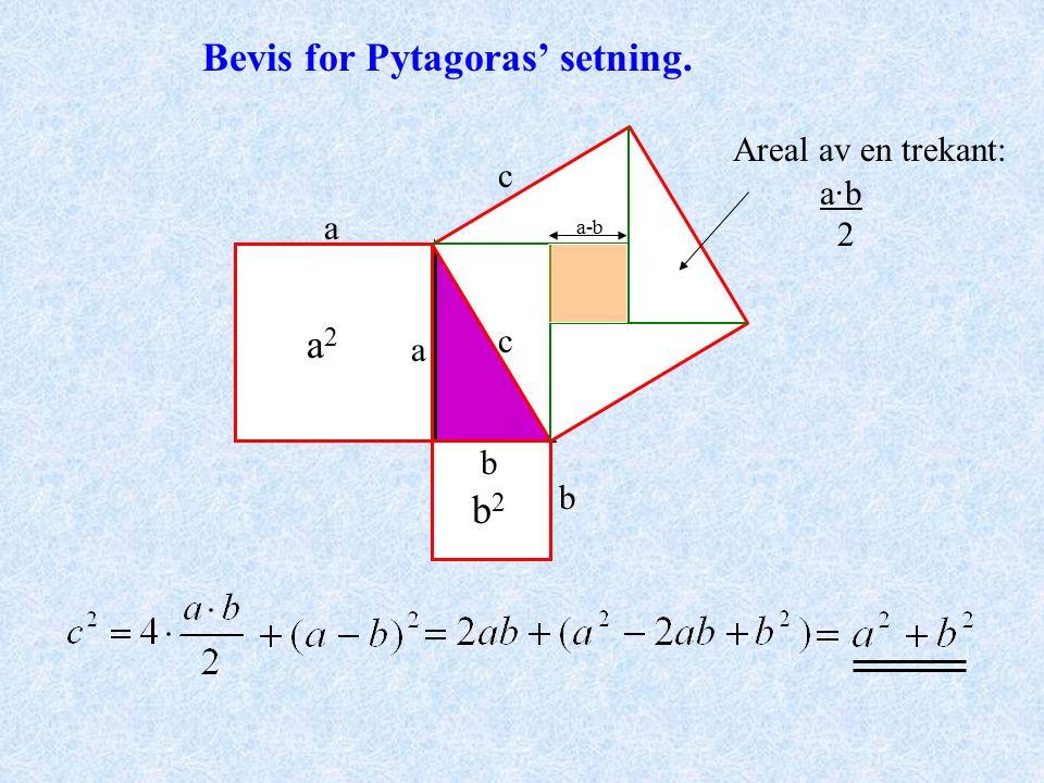 Eksempel nr 2 på bruk av Pytagoras' setning. a=.