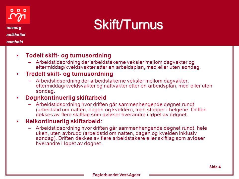 Side 4 omsorg solidaritet samhold Fagforbundet Vest-Agder Skift/Turnus Todelt skift- og turnusordning –Arbeidstidsordning der arbeidstakerne veksler m