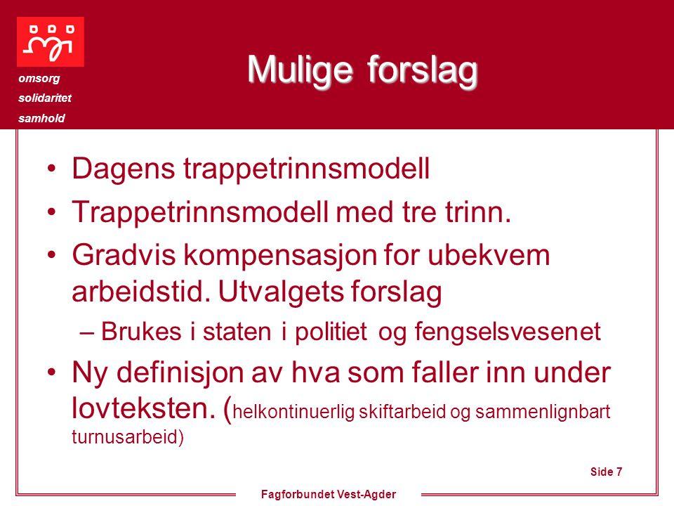 Side 7 omsorg solidaritet samhold Fagforbundet Vest-Agder Mulige forslag Dagens trappetrinnsmodell Trappetrinnsmodell med tre trinn. Gradvis kompensas