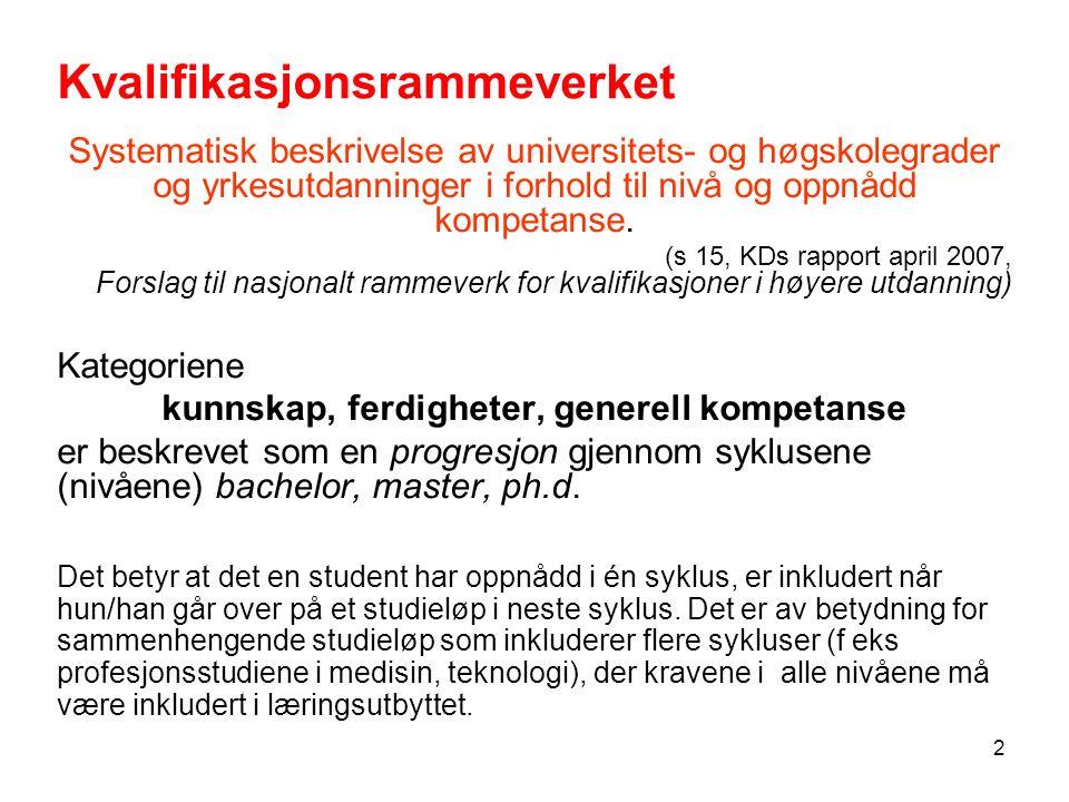 2 Kvalifikasjonsrammeverket Systematisk beskrivelse av universitets- og høgskolegrader og yrkesutdanninger i forhold til nivå og oppnådd kompetanse.