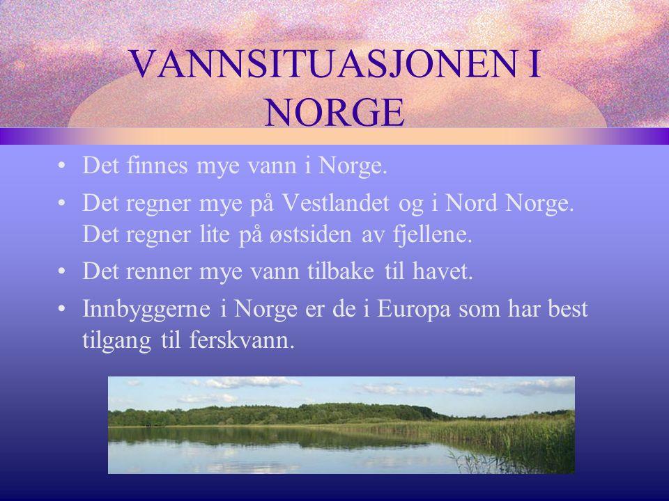 VANNSITUASJONEN I NORGE Det finnes mye vann i Norge.