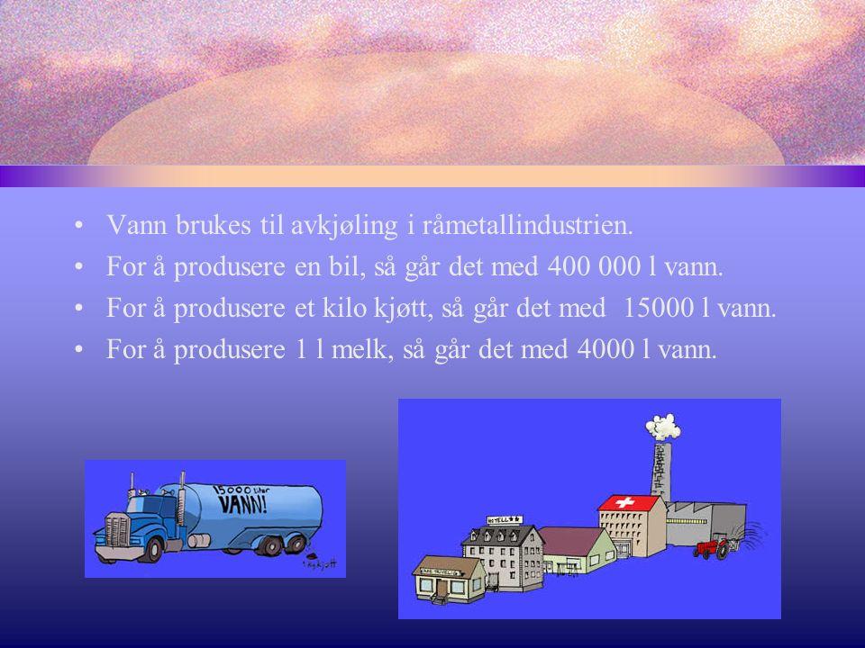 Vann brukes til avkjøling i råmetallindustrien.