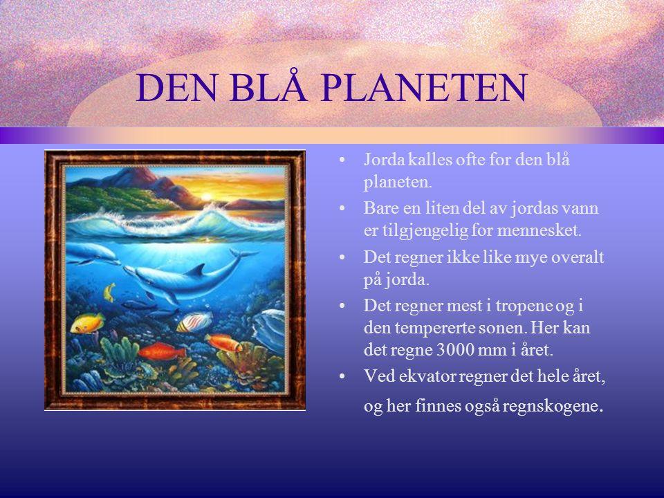 DEN BLÅ PLANETEN Jorda kalles ofte for den blå planeten.