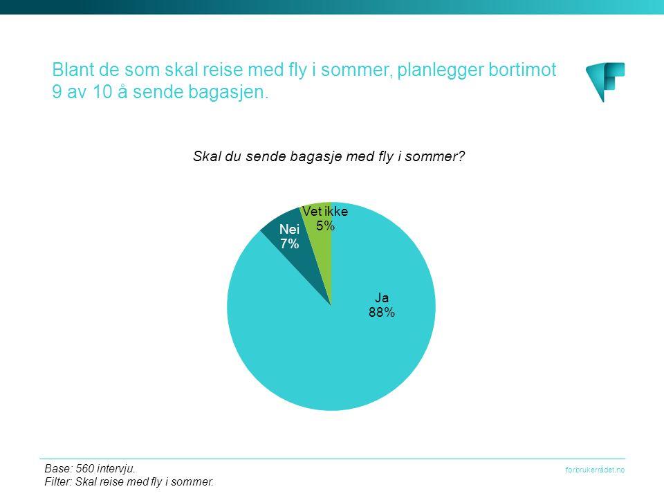 forbrukerrådet.no Blant de som skal reise med fly i sommer, planlegger bortimot 9 av 10 å sende bagasjen.
