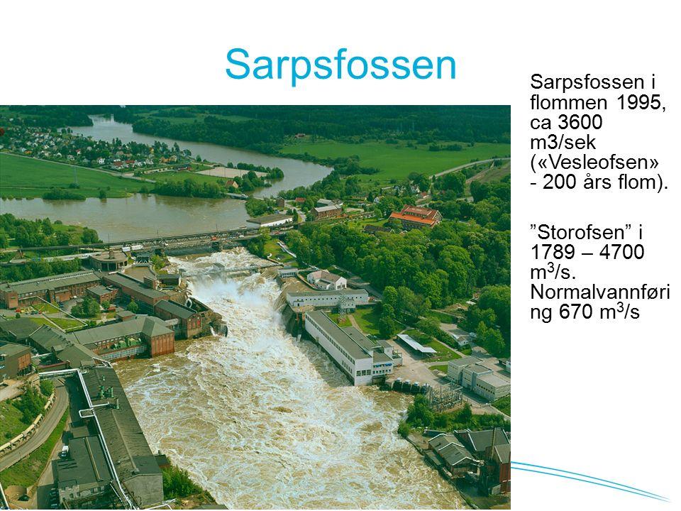 Sarpsfossen Sarpsfossen i flommen 1995, ca 3600 m3/sek («Vesleofsen» - 200 års flom).