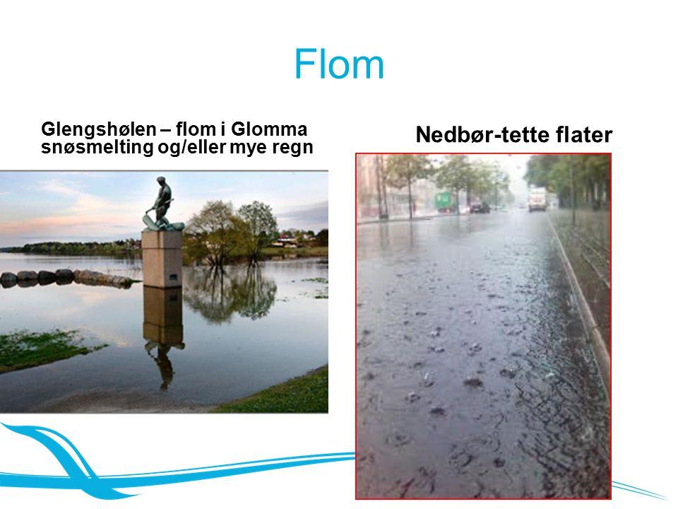 Flom Glengshølen – flom i Glomma snøsmelting og/eller mye regn Nedbør-tette flater