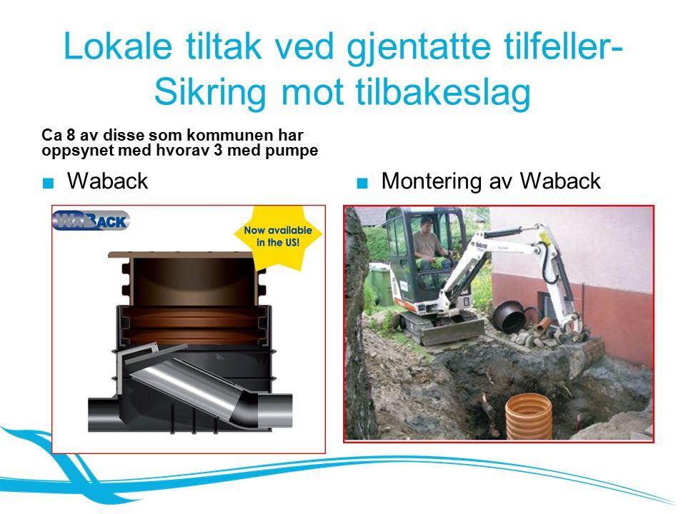 Lokale tiltak ved gjentatte tilfeller- Sikring mot tilbakeslag Ca 8 av disse som kommunen har oppsynet med hvorav 3 med pumpe ■ Waback ■Montering av Waback