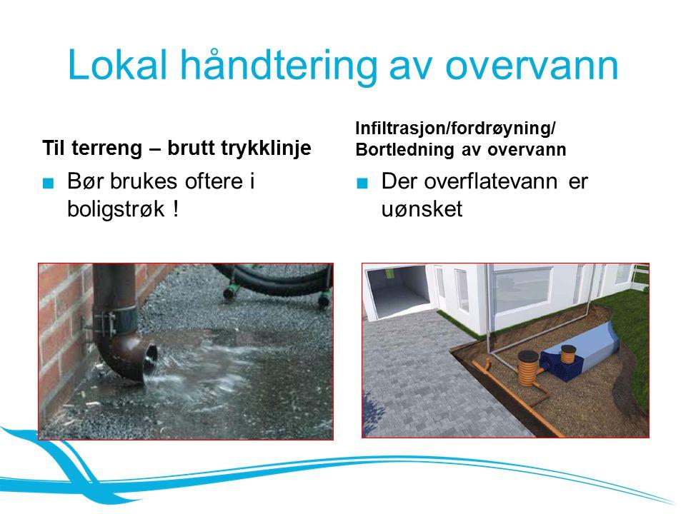 Lokal håndtering av overvann Til terreng – brutt trykklinje ■ Bør brukes oftere i boligstrøk .
