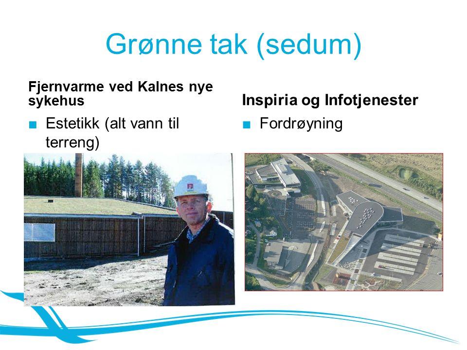 Grønne tak (sedum) Fjernvarme ved Kalnes nye sykehus ■ Estetikk (alt vann til terreng) Inspiria og Infotjenester ■Fordrøyning