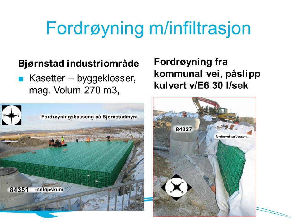 Fordrøyning m/infiltrasjon Bjørnstad industriområde Fordrøyning fra kommunal vei, påslipp kulvert v/E6 30 l/sek ■ Kasetter – byggeklosser, mag.